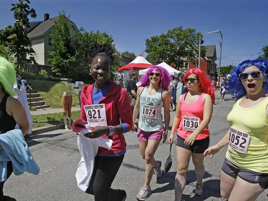 The 1.8-mile Beer Run/Walk kicks off the Locust Street Festival every summer.