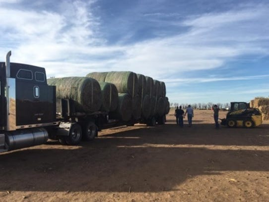 ABOVE: Alan Mohr unloads hay at Gardiner Ranch, near