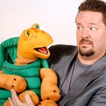 Terry Fator, a ventriloquist, celebrity impressionist, comedian and singer, right, poses for a portrait with Winston the Impersonating Turtle.