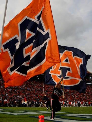 Sep 27, 2014; Auburn, AL, USA; Auburn Tigers cheerleaders