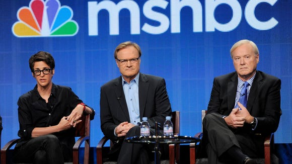 In this 2011 file photo, MSNBC hosts Rachel Maddow, left, Lawrence O'Donnell, center, and Chris Matthews take part in a panel discussion at the NBC Universal summer press tour.