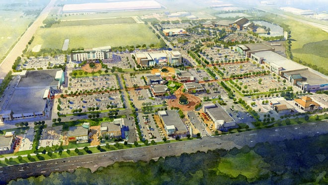 A rendering of a planned development at the former Cabela's site in Greenwood. A local developer is planning a $90 million retail center at the I-65 and County Line Road interchange.