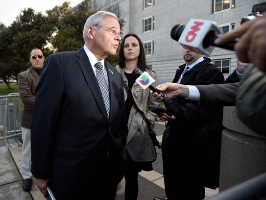 Sen. Bob Menendez leaves Martin Luther King Jr. Federal