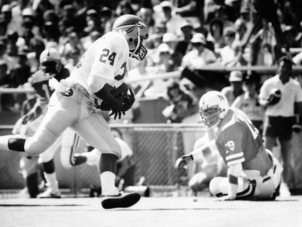 Leon running back Darrin Holloman was one of the best, if not the best, running backs to come through the Leon High School football program. Holloman went on to play for FSU, as seen here in 1985 against Nebraska.