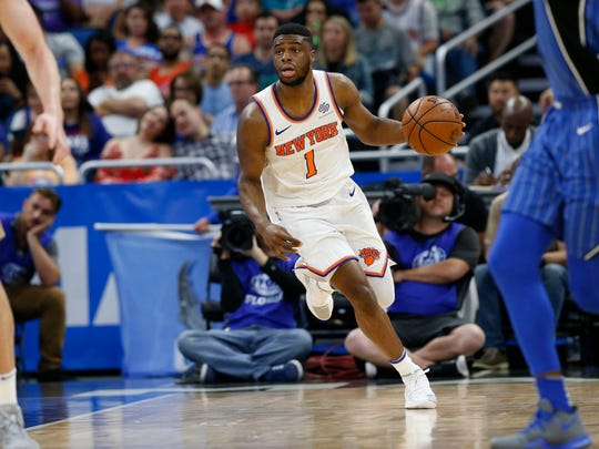 Emmanuel Mudiay started at point guard for the Knicks on Thursday as the team began its plan to give its younger players more minutes in the second half.