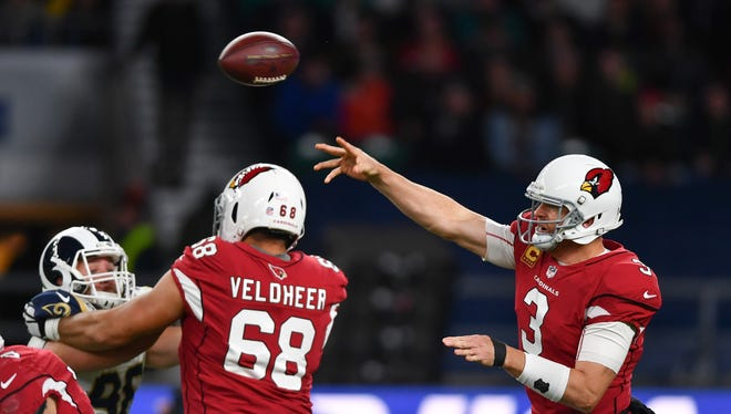 Oct 22, 2017: Arizona Cardinals quarterback Carson Palmer (3) has a pass blocked during the first half of the game against the Los Angeles Rams during the NFL International Series game at Twickenham Stadium.