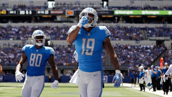 Detroit Lions wide receiver Kenny Golladay (19) celebrates after catching a 23-yard pass for a touchdown against the Indianapolis Colts during the first half of an NFL preseason football game Sunday, Aug. 13, 2017, in Indianapolis.