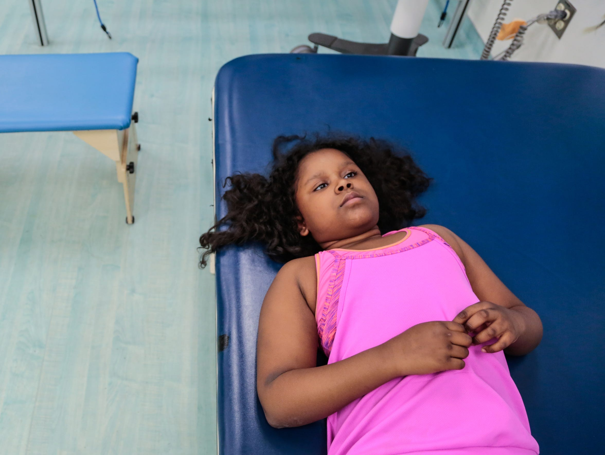 India Williams, 10, of Detroit awaits the start of