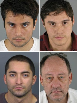 Four men who were convicted of killing Clifford Lambert are appealing their case based on the statements of retired Judge David Downing. Clockwise, from top left: Kaushal Niroula, Daniel Garcia, David Replogle, Miguel Bustamante.