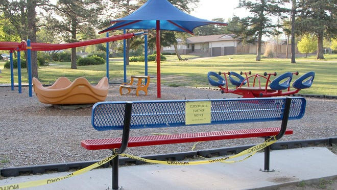 Playground equipment at Sixth Street Park remains closed for the time being as the city continues to follow guidelines Gov. Laura Kelly laid out as the state takes the first step to opening up from the COVID-19 crisis.