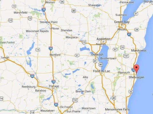 Sheboygan Wisconsin map - regional state