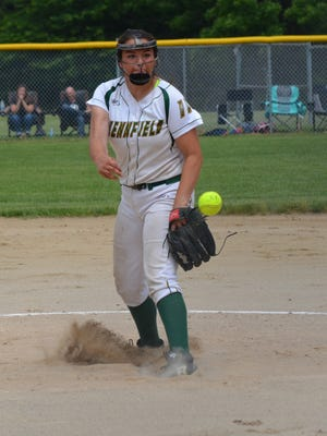 Pennfield's Katie Lenz throws home during this district final against Olivet.