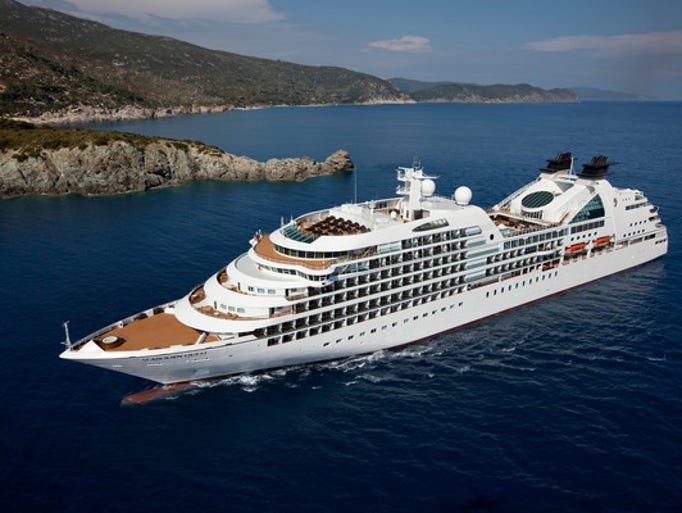 The Seabourn Quest cruises along the coast of Elba,