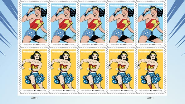 A pane of 'Wonder Woman' Forever stamps is being issued