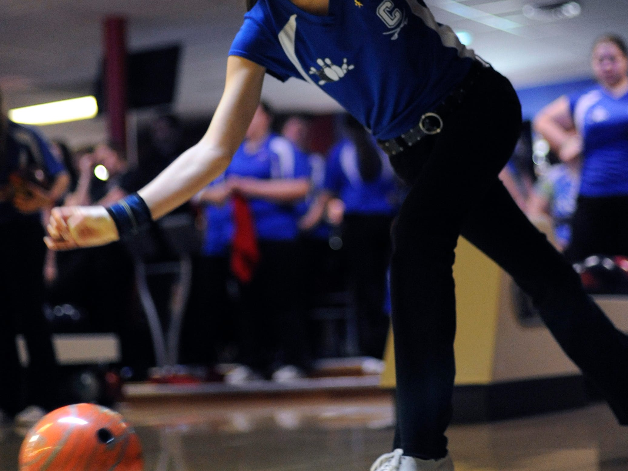 Chillicothe's Reeanna Houser competes in the SCOL tournament on Feb. 14 Shawnee Lanes.