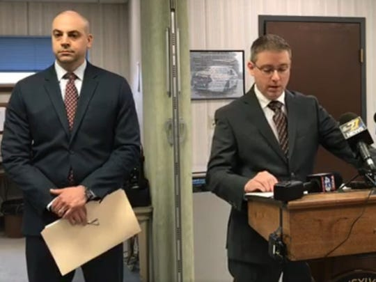 State police Lt. Brandon Daniels (center) answers questions on Thursday, April 19, 2018, at a press conference about the homicide of Aaron Wollman. York County DA Dave Sunday is at left, and lead investigator Trooper Jonathan Confer is at right. (Liz Evans Scolforo photo)