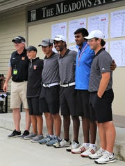 Northville's Division 1 boys golf contingent, coached by Chris Cronin (far left), wound up fourth overall.