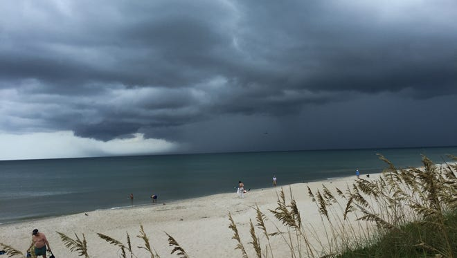 Rain clouds mount over Brevard County.