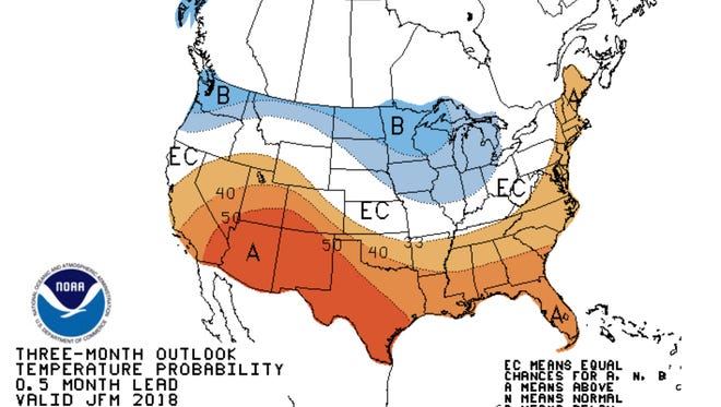 Projections for winter weather in the next three months