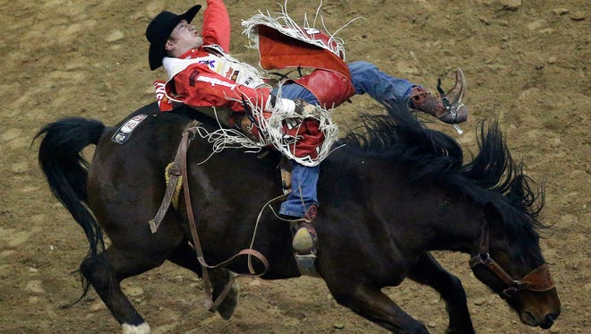 Steven Peebles competes in the bareback riding event for a first place score of 89.5 during the eighth go-round of the National Finals Rodeo, Thursday, Dec. 10, 2015, in Las Vegas. (AP Photo/John Locher)