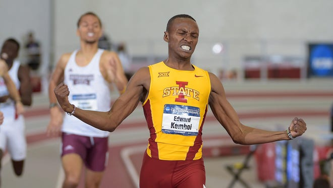 Edward Kemboi of Iowa State celebrates after winning the 800m in 1:46.05 in the 2015 NCAA Indoor Championships at Randal Tyson Center.