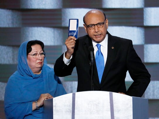 In this July 28, 2016, file photo, Khizr Khan, father