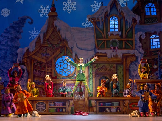 "A scene from Christmastown in ""Elf: The Musical."""