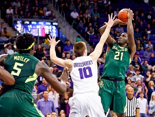 Baylor forward Taurean Prince shoots over TCU forward
