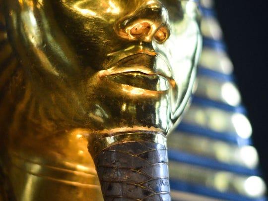 A close-up of the burial mask of Egyptian Pharaoh Tutankhamun