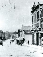 Looking west on Mill Street in Plymouth, the Crystal