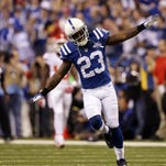 Indianapolis Colts Vontae Davis, shown following a first-quarter stop in the team's 45-44 playoff victory over Kansas City last season, was an example of the team focusing on re-signing its own players rather signing free agents from other teams.
