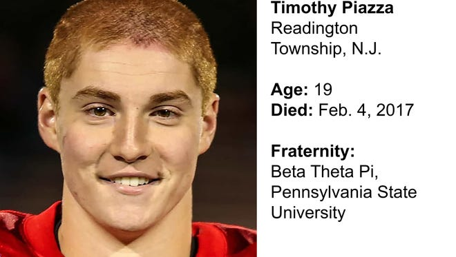 Timothy Piazza, 19, of Readington Township, N.J., died after being fed 18 alcoholic drinks in less than 90 minutes at a Penn State fraternity, stumbling and severely injuring himself.