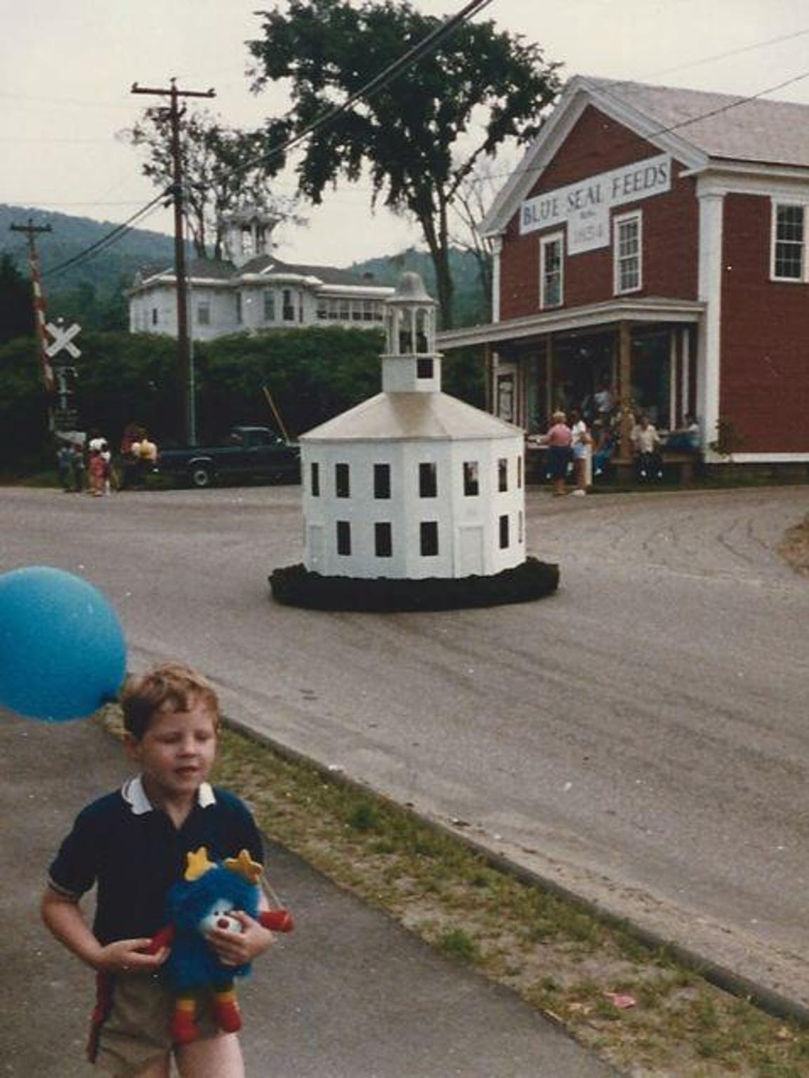 This miniature Old Round Church participated in many Fourth of July parades in the 1970s and 1980s. This is a 1982 photo.