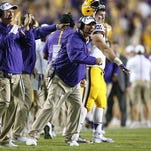 LSU head coach Les Miles reacts during the first half of Saturday's game.