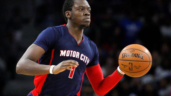 Detroit Pistons guard Reggie Jackson dribbles the ball down the court during the fourth quarter against the Charlotte Hornets at The Palace of Auburn Hills.