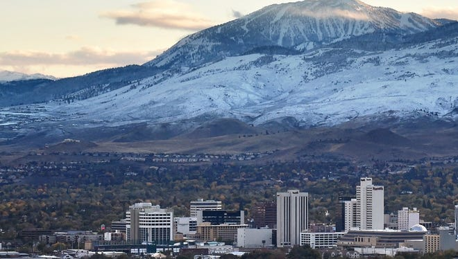 A view of the Reno skyline after the season's first snow fall on Nov. 3, 2015