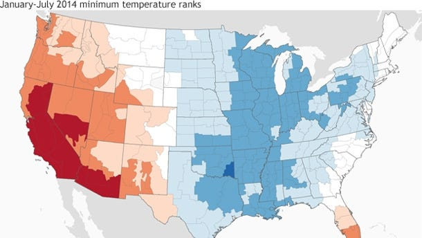 The nation's temperatures were a study in contrasts through the first seven months of 2014, with unusually cool temps in the eastern half of the U.S. and abnormal warmth in the west.
