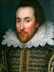 A detail of what is perhaps the only authentic image of Shakespeare made from life.