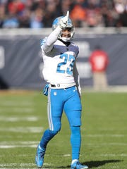 Darius Slay wags his finger after breaking up a pass against the Bears last season.
