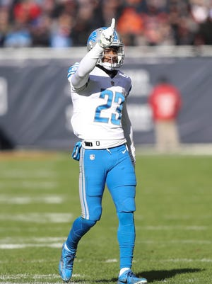 Darius Slay wags his finger after breaking up a pass against the Chicago Bears in the first quarter of the Detroit Lions' 27-24 win Sunday, Nov. 19, 2017 at Soldier Field in Chicago.