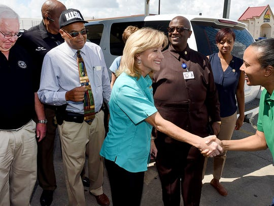 Louisiana's First Lady Donna Edwards arrives at the Opelousas Civic Center Friday morning to tour the facility that is being used as a shelter for Louisiana's flood victims. See more photos at dailyworld.com and on Facebook.