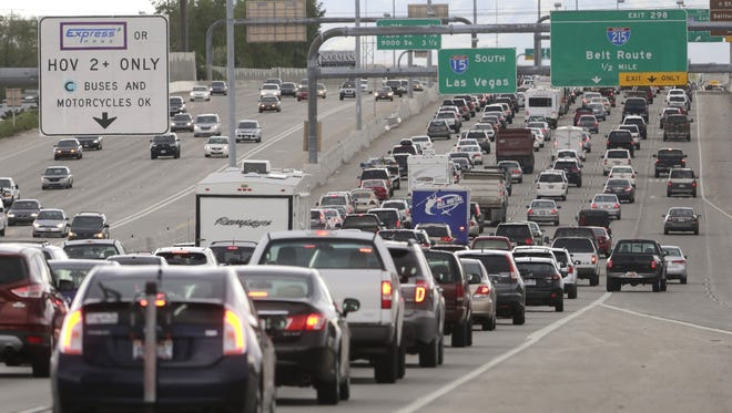 Traffic on Interstate in Salt Lake City, ahead of the Memorial Day weekend May 23, 2014.