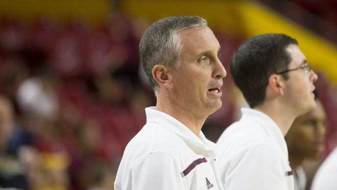 Head coach Bobby Hurley watches his team during ASU men's Maroon and Gold Madness basketball scrimmage at Wells Fargo Arena in Tempe on October 9, 2015.