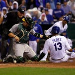 Alonso's pinch-double scores 2 in 8th, A's rally past Royals