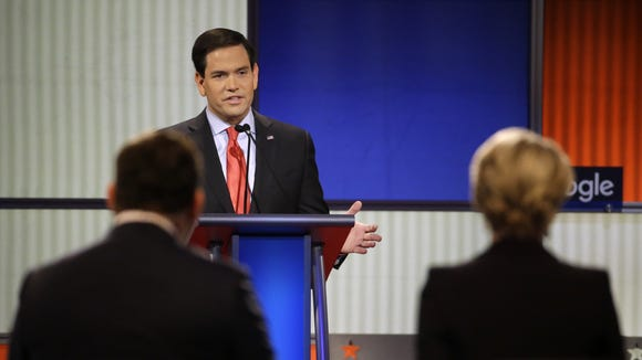 Marco Rubio makes a point during the Republican primary