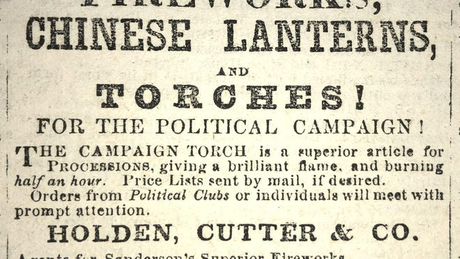 All the equipment needed for a successful torch-light parade. Advertisement in the Exeter News-Letter in 1860 when the Wide Awakes were meeting at the Exeter town hall.