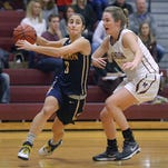 Brighton's Brooke Wolff, left, drives the baseline against Pittsford Mendon's Caroline Cullinan at Pittsford Mendon High School on Feb. 5, 2016.