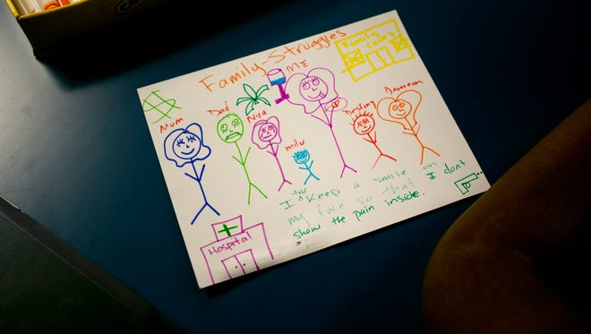 A drawing by Bre'Ana Henderson, 17, about her family sits on a desk in a classroom in Los Angeles in this 2015 file photo. Henderson, who was placed in foster care after reporting her mother for child abuse, resided at Beachwood House, a group home.