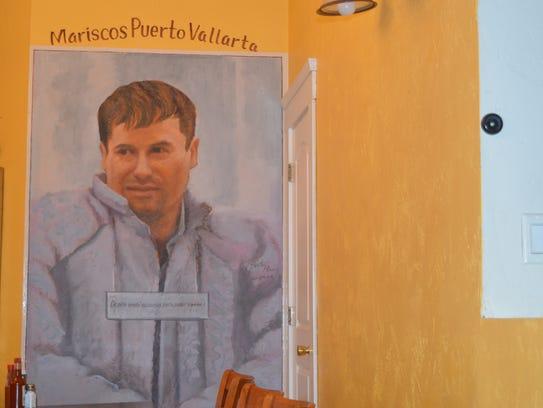 """El Chapo"" Guzman portrait at Puerto Vallarta restaurant"