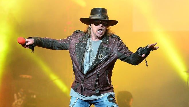 """Axl Rose of Guns N' Roses performs at The Joint at  the Hard Rock Hotel & Casino during the opening night of the band's residency, 'Guns N' Roses - An Evening of Destruction. No Trickery!"""" on May 22."""